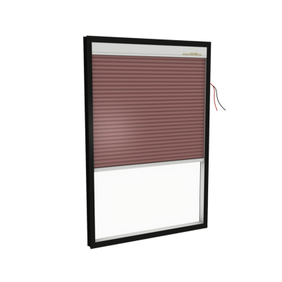 lnsulated glass with electric Honeycomb blinds. (Top Down) Model: B27